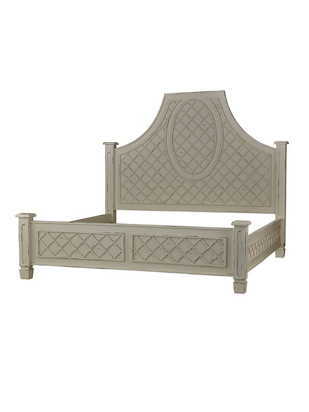 Dauphine Mahogany King Bed - White Heavy Distressed