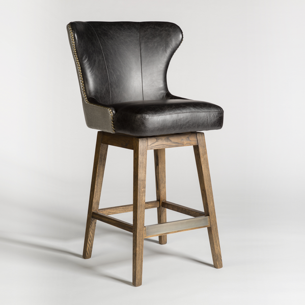 Rockne Swivel Counter Stool - Essex Gray & Antique Charcoal Leather
