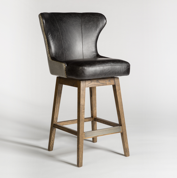 Rockne Swivel Barstool - Essex Gray & Antique Charcoal Leather