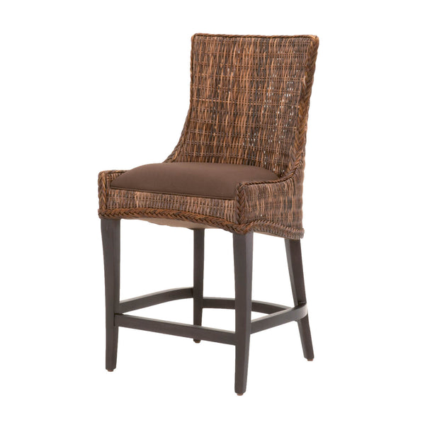Roman Counter Stool - Brown Weave Wicker + Espresso