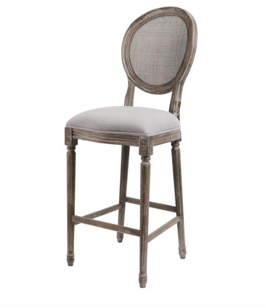 Hartwell Oval Mesh Back Counter Stool - Dove Gray Linen