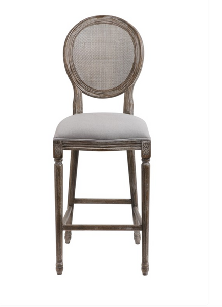 Hartwell Oval Mesh Back Counter Stool Dove Gray Linen
