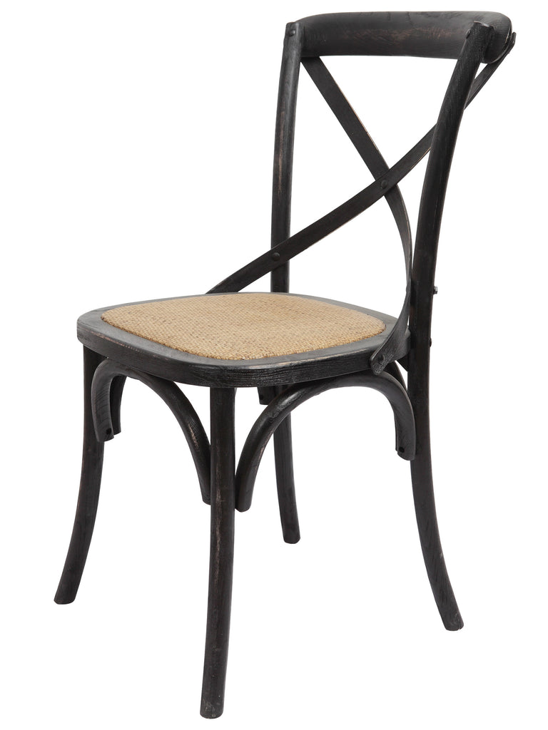 Brady X-Back Side Chair - Black Wash