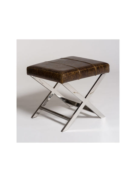 Henley Cross Ottoman - Vintage Cigar Leather & Polished Chrome