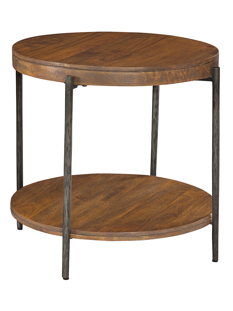 Davidson 30 forged iron wood round side table vintage for Iron and wood side table