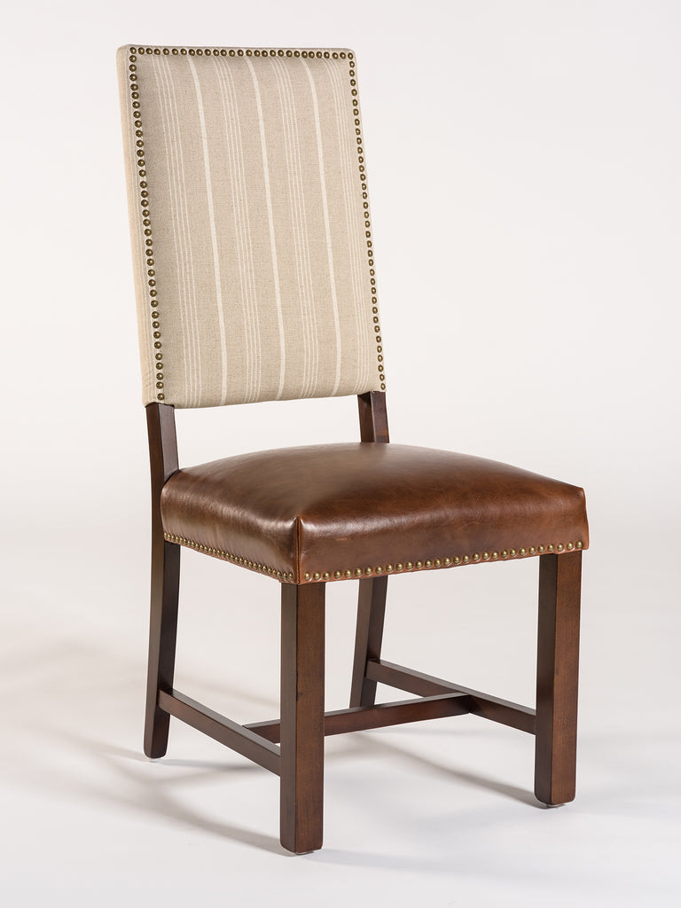 Westchester Dining Chair - Antique Saddle & Striped Linen