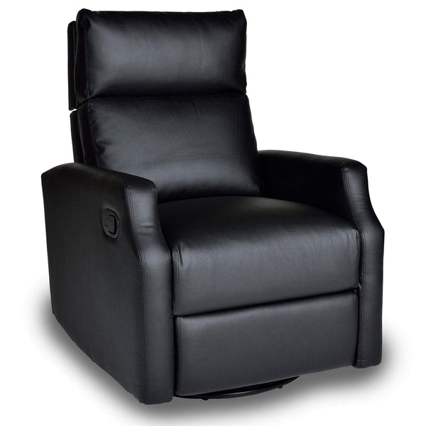 Sydney Leather Swivel Glider Recliner - Ebony