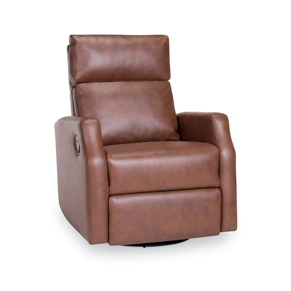Sydney Leather Swivel Glider Recliner - Tobacco