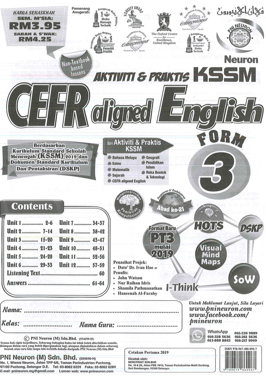 Aktiviti & Praktis KSSM (CEFR Aligned English) Form 3