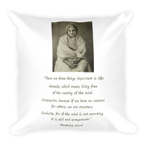 Beatrice Wood with Quote Square Pillow