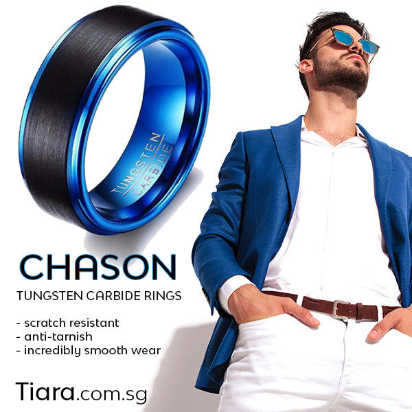 Chason Ring Tungsten Carbide Ring Men Rings Singapore Tiara dot com dot sg Scratch resistant Anti-tarnish Incredibly smooth wear Simply beautiful