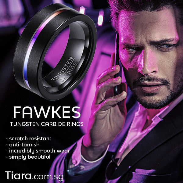 Fawkes Tungsten Carbide Ring Men Tiara dot com dot sg