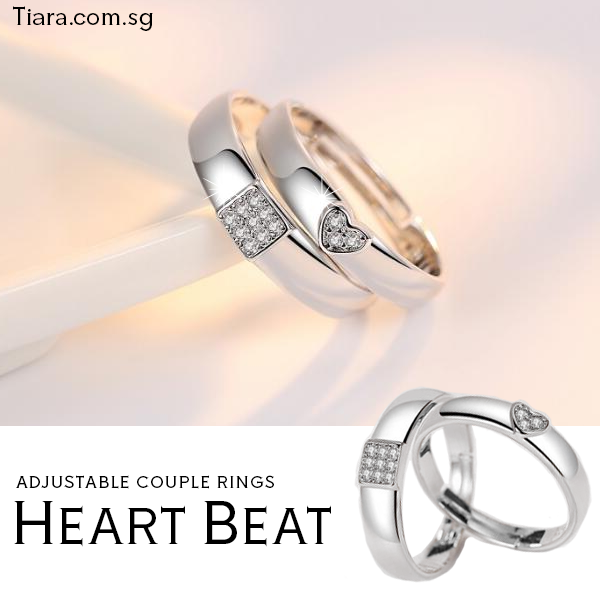 Heart Beat Couple Rings Adjustable Tiara dot com dot sg