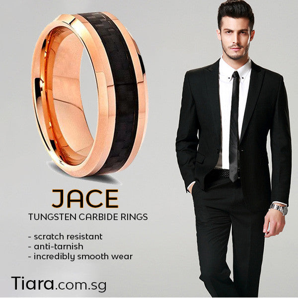 Jace Tungsten Carbide Ring Tiara.com.sg Scratch resistant Anti-tarnish Incredibly smooth wear Simply beautiful