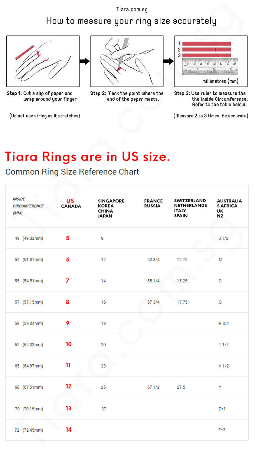 Ring Size Reference Tiara