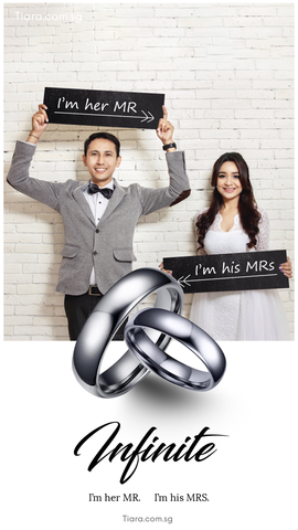 I'm her Mr. I'm his Mrs. Infinite Tiara Couple Tungsten Rings Wedding Bands