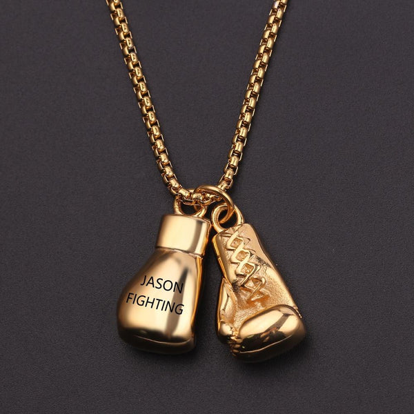 Boxing Gloves Necklace with 2 names