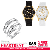Heart Beat Couple Rings & Watch Set