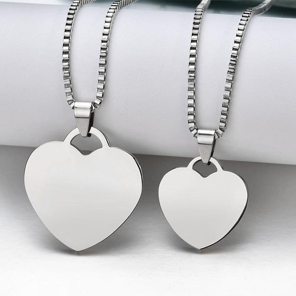 Stainless Steel Photo Engraved Heart Pendant
