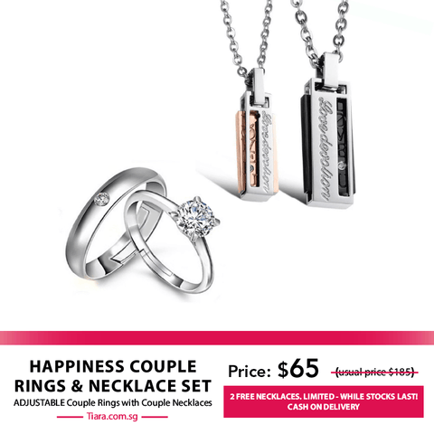 Happiness Couple Rings & Necklaces Set