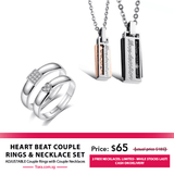 Heart Beat Couple Rings & Necklaces Set