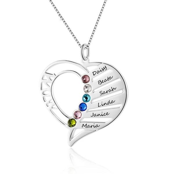 6 Names : Sterling Silver Birthstone & Names Pendant