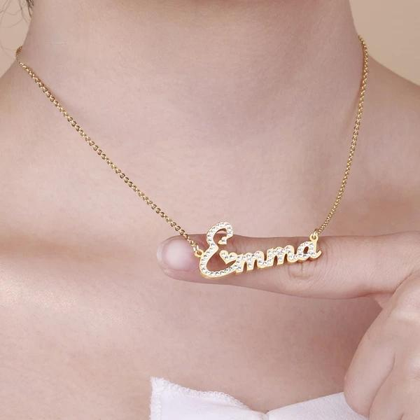 Glamy Zircon Name Necklace