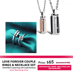 Love Forever Couple Rings & Necklaces Set