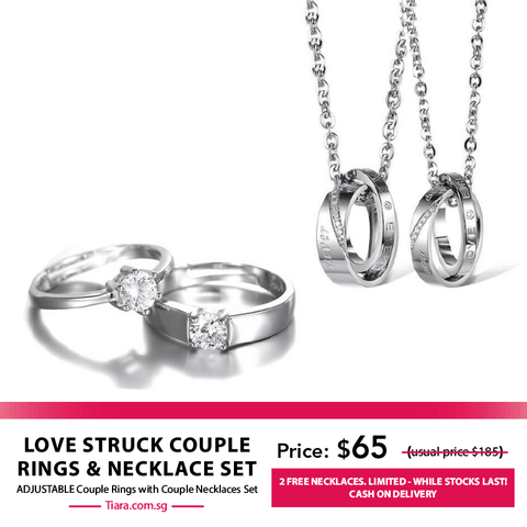 Love Struck Couple Rings & Necklaces Set