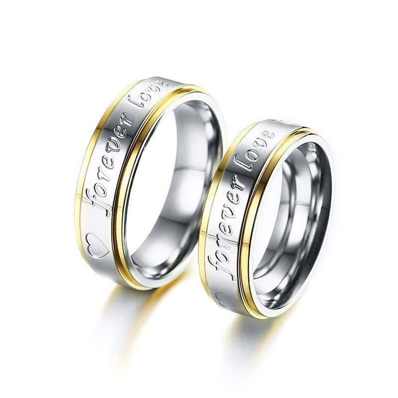 Forever Love Promise Black Tungsten Carbide Ring Couple Engagement Wedding Band