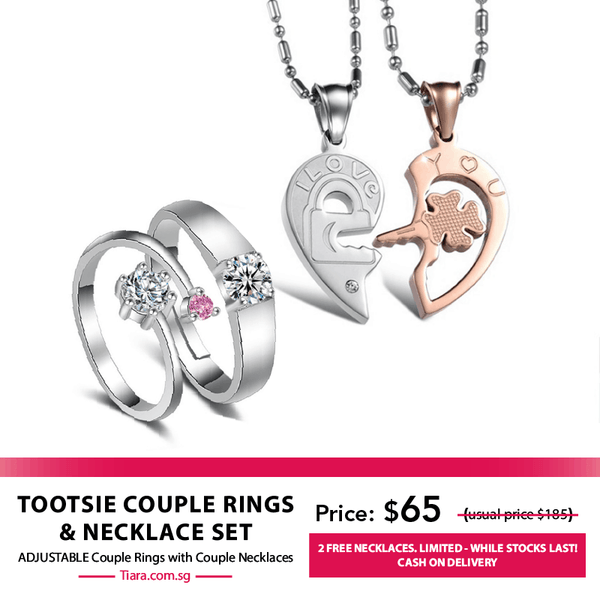 Tootsie Couple Rings & Necklaces Set