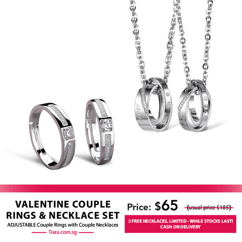 Valentine Couple Rings & Necklaces Set