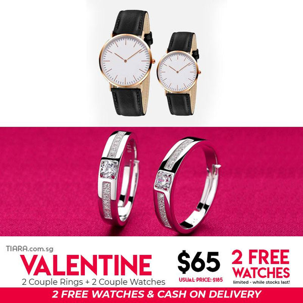 Valentine Couple Rings & Watch Set