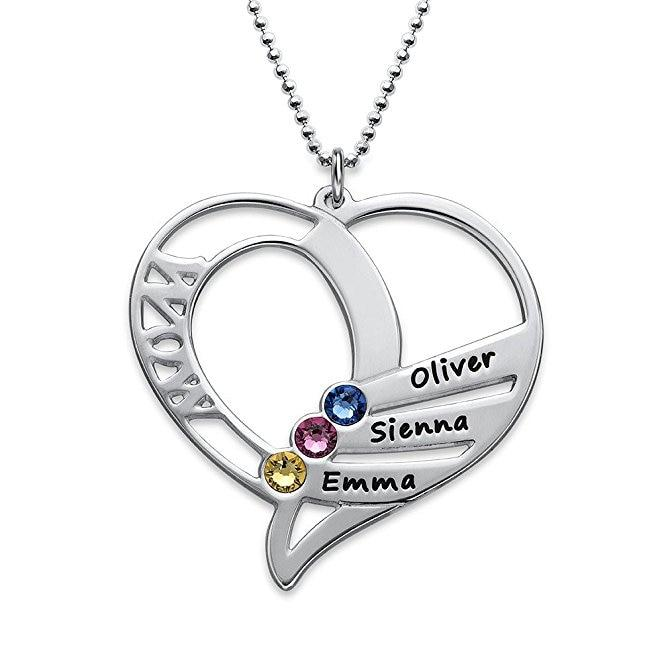 3 Names Necklace : Stainless Steel Birthstone & Names Pendant