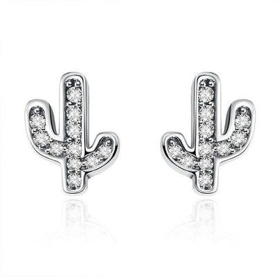 SSER8881 - White Cactus Earrings - Tiara.com.sg Singapore Jewelry Shop