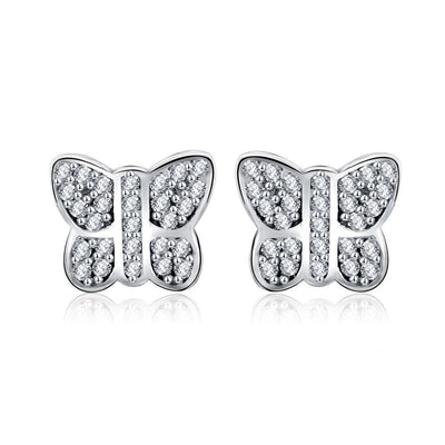 SSER8852 - Silver Butterfly Earrings - Tiara.com.sg Singapore Jewelry Shop