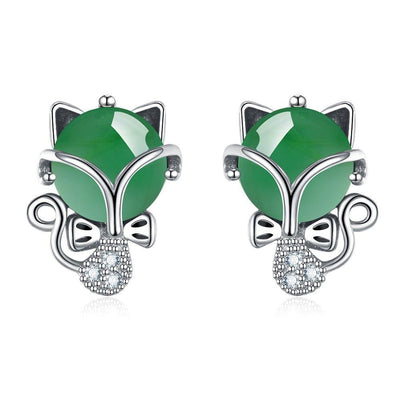 SSER8832 - Jade Cat Earrings - Tiara.com.sg Singapore Jewelry Shop