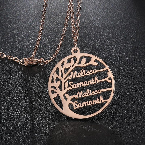Tree of Life 4 Names Necklace
