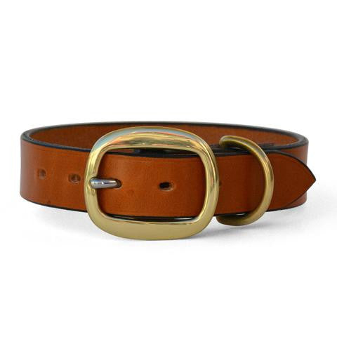Plain Leather Dog Collar with Swage Buckle TAN
