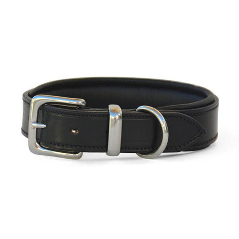 Padded Leather Dog Collar with West End Buckle Black/Black Padding