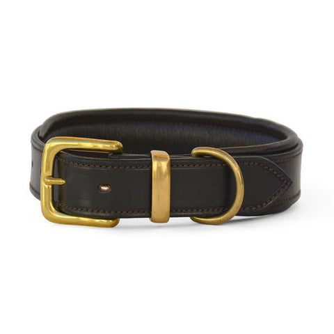 Padded Leather Dog Collar with West End Buckle Dark Havana/Brown Padding