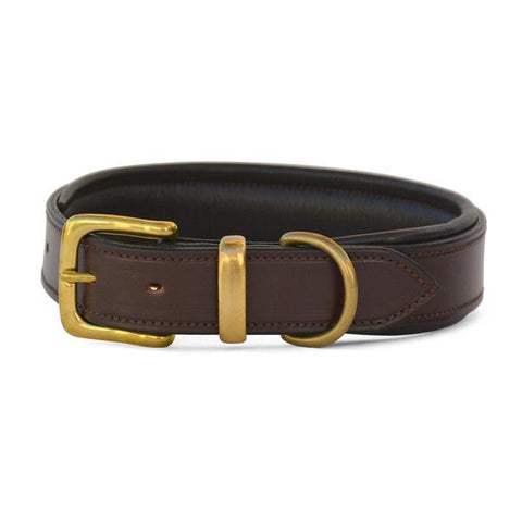 Padded Leather Dog Collar with West End Buckle Nut/Brown Padding