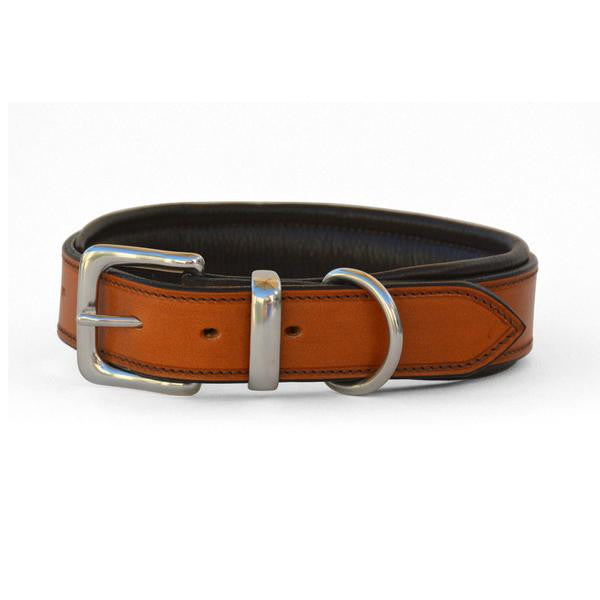 Padded Leather Dog Collar with West End Buckle Tan/Brown Padding