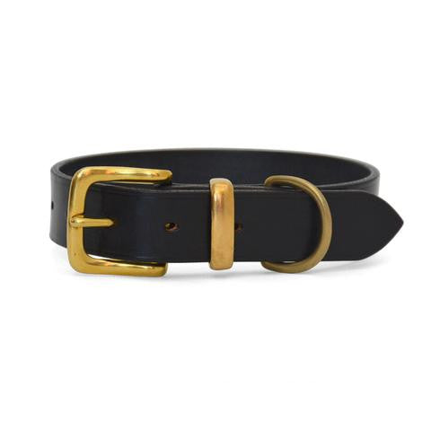 Plain Leather Dog Collar with West End Buckle DARK HAVANA