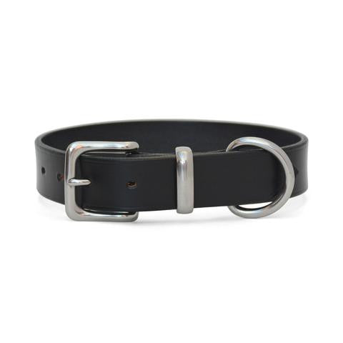 Plain Leather Dog Collar with West End Buckle BLACK