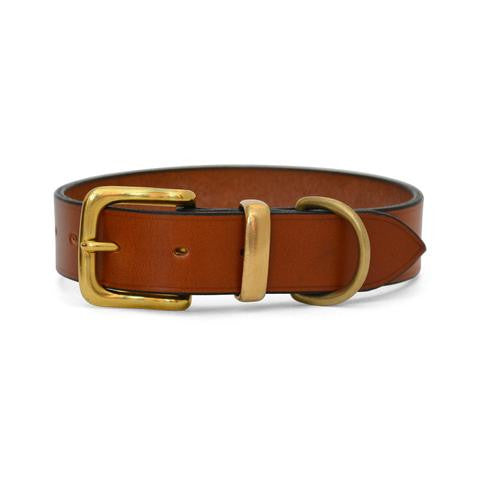 Plain Leather Dog Collar with West End Buckle TAN