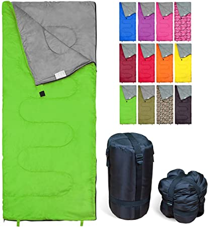 REVALCAMP Sleeping Bag Indoor & Outdoor Use. Great for Kids, Boys, Girls, Teens & Adults. Ultralight and Compact Bags are Perfect for Hiking, Backpacking & Camping - Green