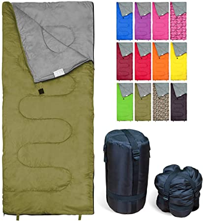 REVALCAMP Sleeping Bag Indoor & Outdoor Use. Great for Kids, Boys, Girls, Teens & Adults. Ultralight and Compact Bags are Perfect for Hiking, Backpacking & Camping - Olive