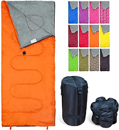 REVALCAMP Sleeping Bag Indoor & Outdoor Use. Great for Kids, Boys, Girls, Teens & Adults. Ultralight and Compact Bags are Perfect for Hiking, Backpacking & Camping - Orange