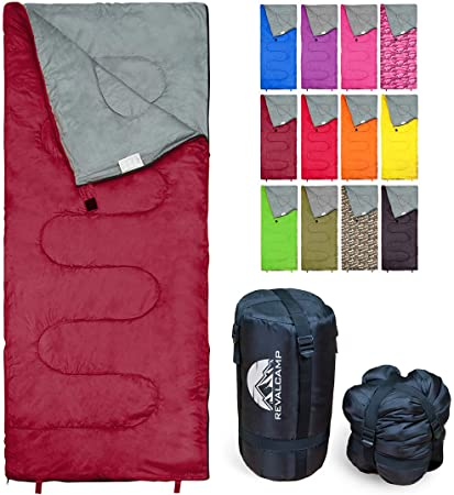 REVALCAMP Sleeping Bag Indoor & Outdoor Use. Great for Kids, Boys, Girls, Teens & Adults. Ultralight and Compact Bags are Perfect for Hiking, Backpacking & Camping - Bordeaux